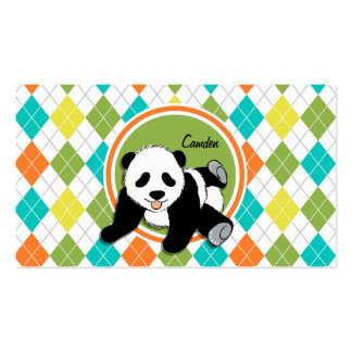 Baby Panda on Colorful Argyle Pattern Double-Sided Standard Business Cards (Pack Of 100)