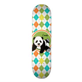 Baby Panda on Colorful Argyle Pattern Skateboard Deck