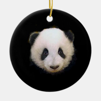 Baby Panda Double-Sided Ceramic Round Christmas Ornament