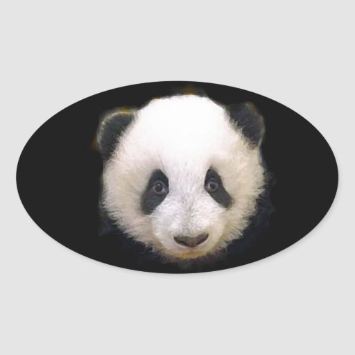 Baby Panda Oval Sticker