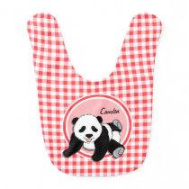 Baby Panda; Red and White Gingham Baby Bib