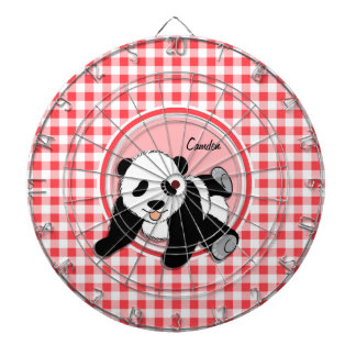 Baby Panda; Red and White Gingham Dartboard