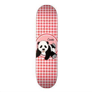 Baby Panda; Red and White Gingham Custom Skate Board