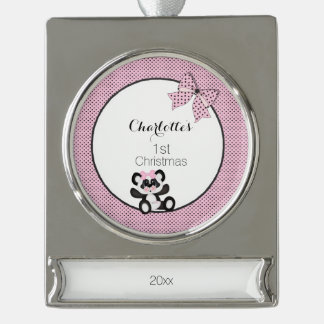 Baby Panda Silver Plated Banner Ornament