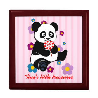 Baby Panda with lollipop Keepsake Boxes