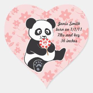 Baby panda with lollipop heart sticker