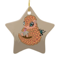 Baby pangolin with ant ceramic ornament