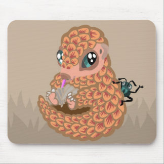 Baby pangolin with ant mouse pad
