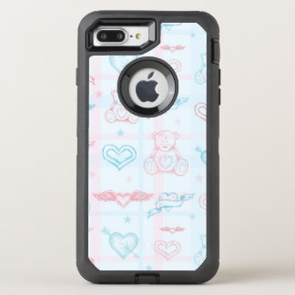 baby pattern with teddy bear OtterBox defender iPhone 8 plus/7 plus case