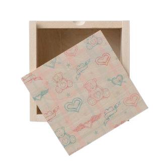 baby pattern with teddy bear wooden keepsake box