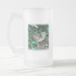 Baby Peacock Chick Frosted Beer Mug
