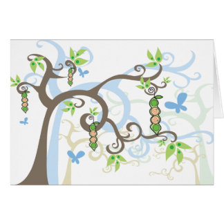 Baby Peas in Pod Twin Boys Thank You Note Card
