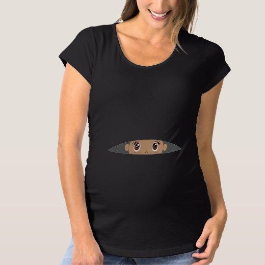 1b6185bcc5341 Baby Peeking [Med Skin / Brown Eyes] Maternity T-Shirt | Zazzle.com