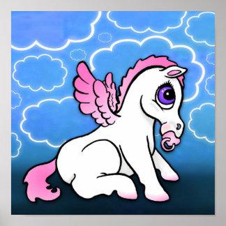 Baby Pegasus with binky - Pink - Print