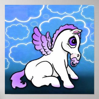 Baby Pegasus with binky - Purple - Print