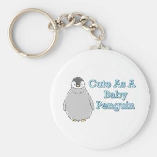 Baby Penguin Basic Round Button Keychain