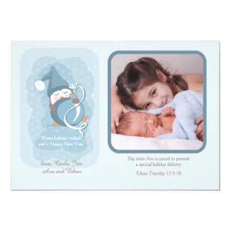 Baby Penguin Holiday Photo Birth Announcement