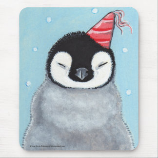Baby Penguin in a Party Hat Whimsical Mousepad