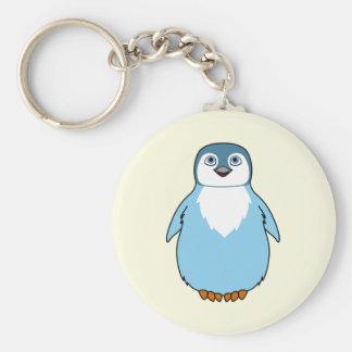 Baby Penguin in Light Blue Basic Round Button Keychain