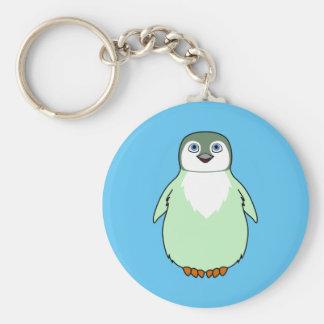 Baby Penguin in Light Green Basic Round Button Keychain