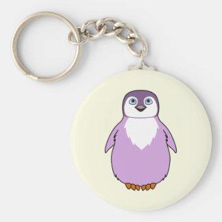 Baby Penguin in Light Purple Basic Round Button Keychain
