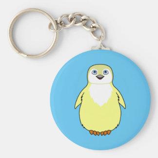 Baby Penguin in Light Yellow Basic Round Button Keychain