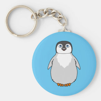 Baby Penguin in Natural Gray Basic Round Button Keychain