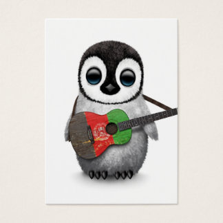 Baby Penguin Playing Afghan Flag Guitar Business Card
