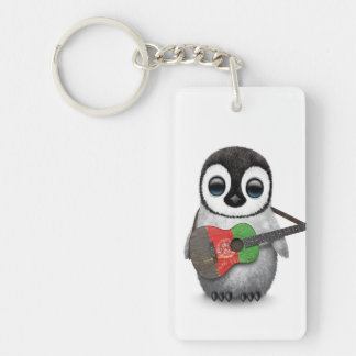 Baby Penguin Playing Afghan Flag Guitar Keychain