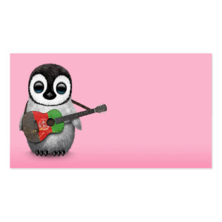 Baby Penguin Playing Afghan Flag Guitar Pink Business Card
