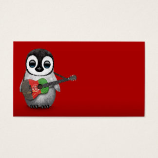 Baby Penguin Playing Afghan Flag Guitar Red Business Card