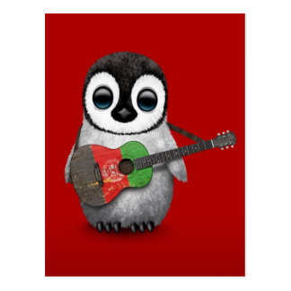 Baby Penguin Playing Afghan Flag Guitar Red Postcard
