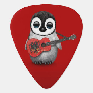 Baby Penguin Playing Albanian Flag Guitar Red Guitar Pick