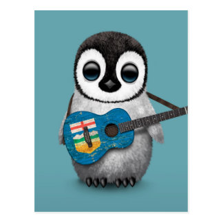 Baby Penguin Playing Alberta Flag Guitar Blue Postcard
