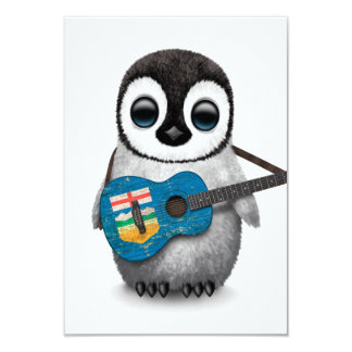 Baby Penguin Playing Alberta Flag Guitar Card