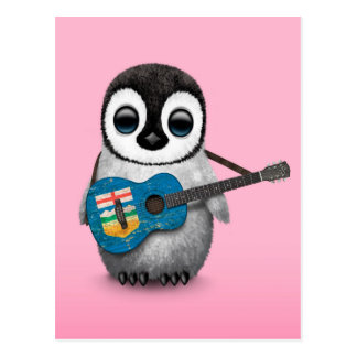 Baby Penguin Playing Alberta Flag Guitar Pink Postcard