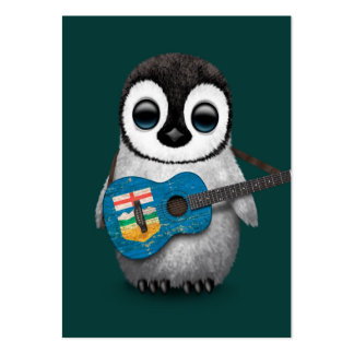 Baby Penguin Playing Alberta Flag Guitar Teal Large Business Card