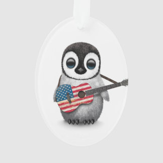 Baby Penguin Playing American Flag Guitar Ornament