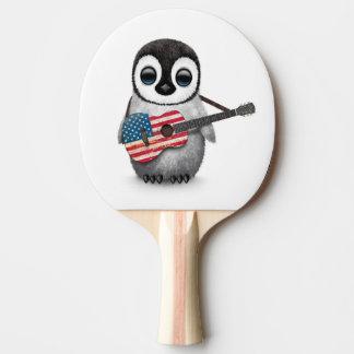 Baby Penguin Playing American Flag Guitar Ping Pong Paddle