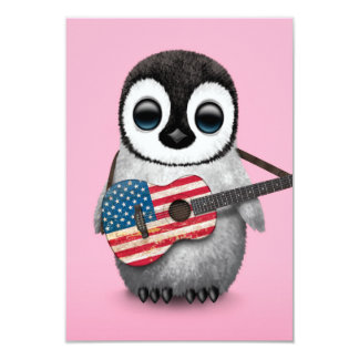 Baby Penguin Playing American Flag Guitar Pink 3.5x5 Paper Invitation Card