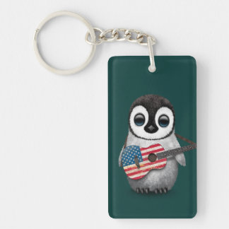 Baby Penguin Playing American Flag Guitar Teal Keychain