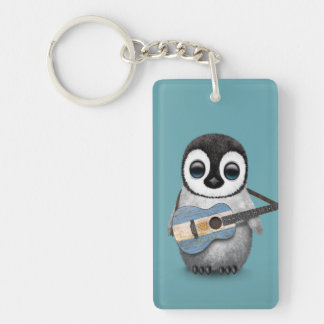 Baby Penguin Playing Argentinian Flag Guitar Blue Keychain