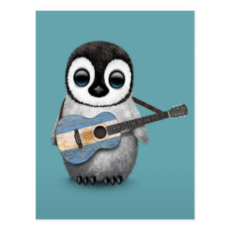 Baby Penguin Playing Argentinian Flag Guitar Blue Postcard
