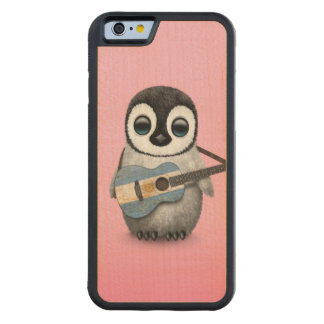 Baby Penguin Playing Argentinian Flag Guitar Pink Carved Maple iPhone 6 Bumper Case