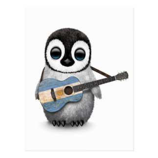 Baby Penguin Playing Argentinian Flag Guitar Red Postcard