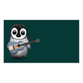 Baby Penguin Playing Argentinian Flag Guitar Teal Business Card