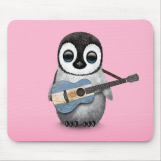 Baby Penguin Playing Armenian Flag Guitar Pink Mouse Pad
