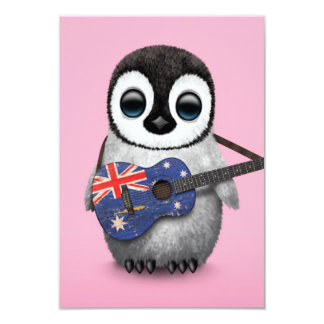 Baby Penguin Playing Australian Flag Guitar Pink 3.5x5 Paper Invitation Card