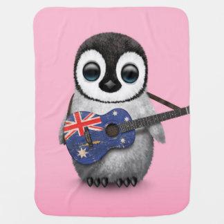 Baby Penguin Playing Australian Flag Guitar Pink Receiving Blanket