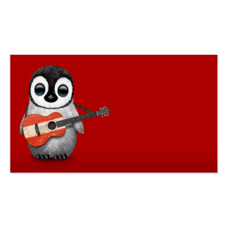 Baby Penguin Playing Austrian Flag Guitar Red Business Card